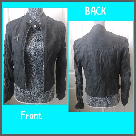 Gray faux leather cropped jacket